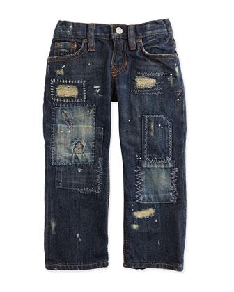 Patchwork Denim Jeans, Field Wash, 4-6X