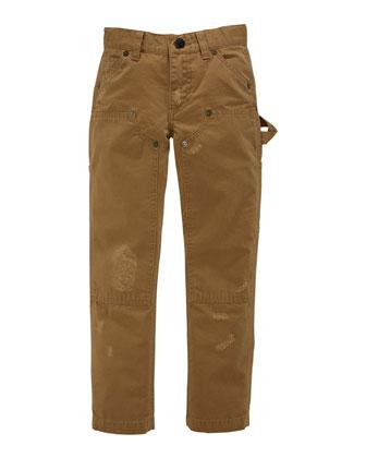 Workwear Distressed Chino Pants, Deep Khaki, Sizes 4-7
