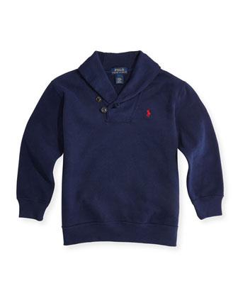 Shawl-Collar Sweatshirt, French Navy, Sizes 4-7