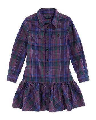Plaid Twill Ruffled Shirtdress, Burgundy