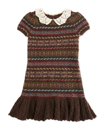 Fair Isle Mixed-Stripe Sweaterdress, Lichfield Brown, Sizes 2T-3T