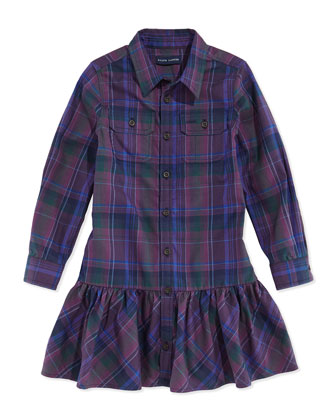 Plaid Twill Ruffled Shirtdress, Burgundy, Sizes 4-6x