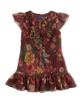 Girls' Ruffled Floral-Print Chiffon Dress, Bordeaux
