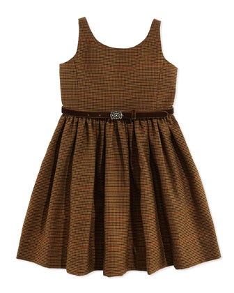 Houndstooth Tweed Jumper Dress, Brown
