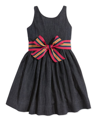 Bow-Belted Denim Fit-And-Flare Dress, Indigo Wash, Sizes 4-7