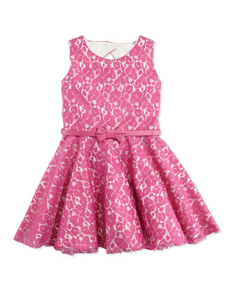 Gunmetal Glam Lace Fit-And-Flare Dress, Pink, Sizes 12 Months-12 Years