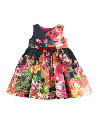 Girls' Vintage Floral-Print Fit-And-Flare Dress