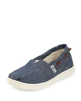 Chambray Bimini Shoe, Navy, Youth