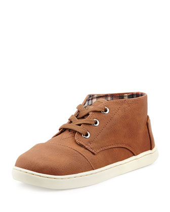 Padeo Faux-Leather High-Top Sneaker, Brown, Youth