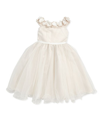 Tulle Dress with Floral Collar, Ivory/Petal, Sizes 2-6