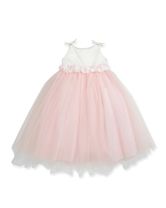 Floral-Waist Satin & Tulle Dress, Diamond White/Pink, Sizes 2-6