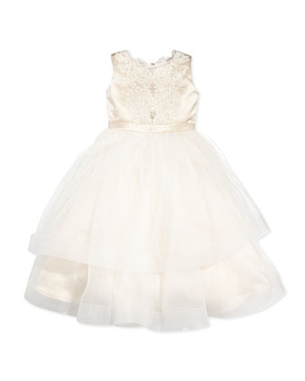 Satin and Tulle Embroidered-Lace Dress, Rum Pink/Ivory, Sizes 2-14