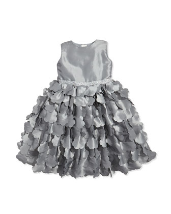 Taffeta Cutout-Floral Dress, Gray, Sizes 2-14
