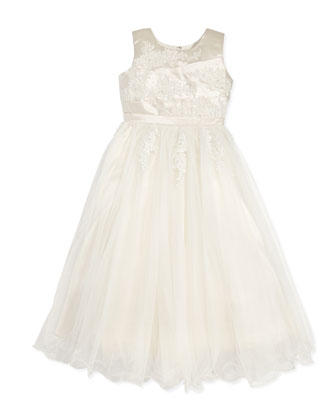 Tulle Dress with Pleated Satin Bodice, Ivory/Gardenia, Sizes 2-14