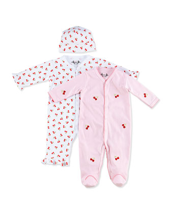 Cherry-Print Ruffle Coverall & Footie Gift Set, 0-9 Months