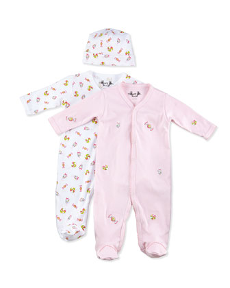 Candy-Print Footie w/ Hat & Embroidered Footie Gift Set, 0-9 Months
