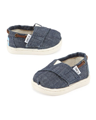 Chambray Bimini Shoe, Navy, Tiny
