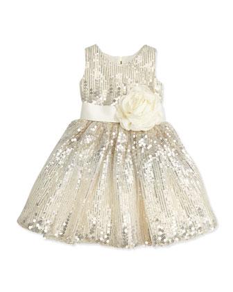 Sequined Satin-Waist Dress