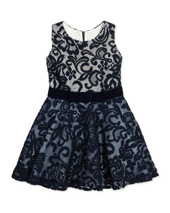 Little Know Lace-Overlay Dress, Navy, Sizes 2-6X