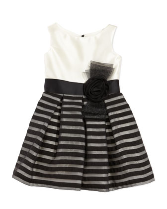 Striped-Overlay Party Dress, 7-12