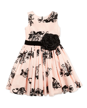 Floral-Print Party Dress, Blush, Sizes 7-12