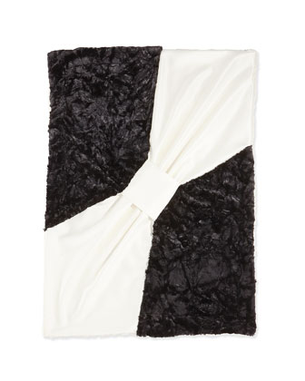 Bow Baby Blanket, Ivory/Black