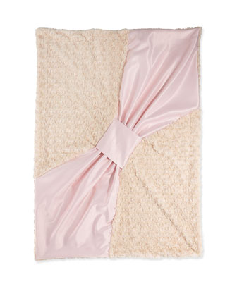 Bow Baby Blanket, Blush/Tan