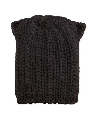 Kids Cat-Ear Knit Hat, Black