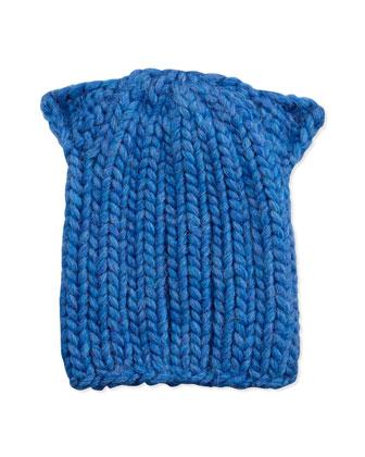 Kids Cat-Ear Knit Hat, Heather Blue
