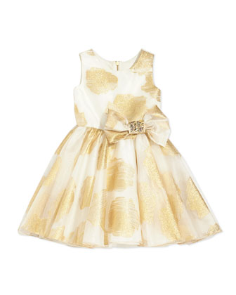 Little Lady Gold-Print Party Dress, 8-12