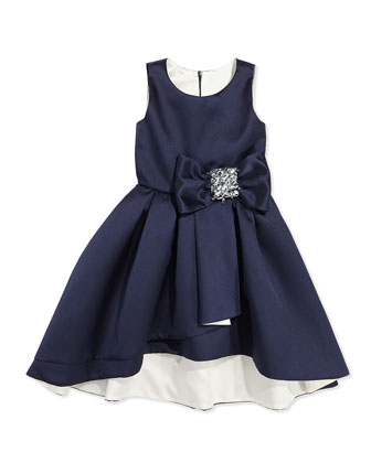 High-Low Sleeveless Dress, Navy/Ivory, Sizes 2-6