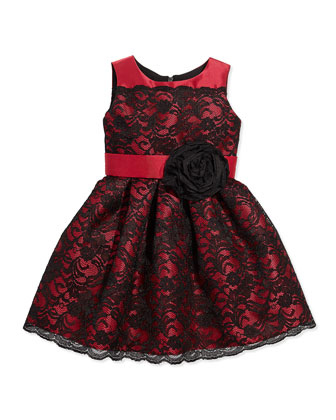 Lace-Overlay Party Dress, Black/Red, Sizes 2-6X