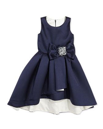High-Low Sleeveless Dress, Navy/Ivory, Sizes 8-12