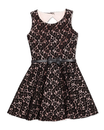 Blush Beauty Lace Fit-And-Flare Dress, Blush, Sizes 8-12
