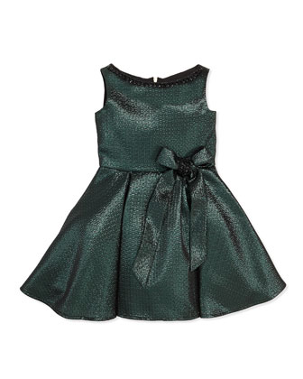 Old World Glam Jacquard Party Dress, Green, Sizes 8-12
