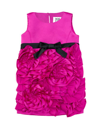 Rosette Satin Party Dress, Fuchsia, Sizes 2-7