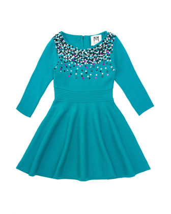 Ombre Sequin Flare Dress, Emerald, Sizes 2-7