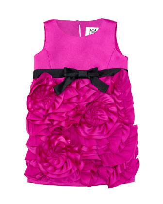 Rosette Satin Party Dress, Fuchsia, Sizes 8-14