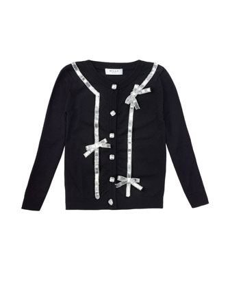 Sequin-Bow Knit Cardigan, Black, Sizes 8-14