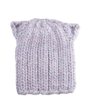 Kids Cat-Ear Knit Hat, Lavender