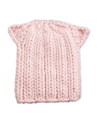 Kids Cat-Ear Knit Hat, Pink