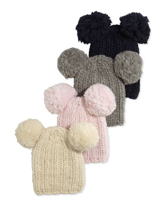 Mini Knit Hat with Pompoms