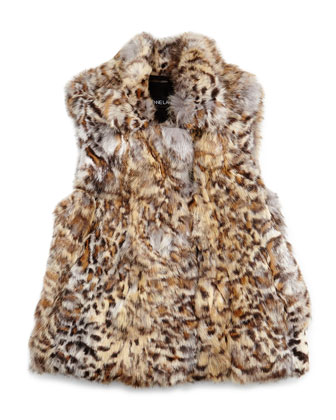 Leopard-Print Fur Vest, Girls' Sizes 2-12