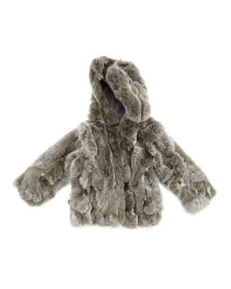 Hooded Rabbit Fur Coat, Size 2-12