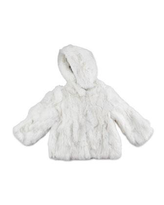 Hooded Fur Coat, White, Sizes 2-12