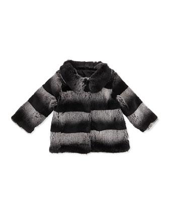 Ombre-Stripe Fur Coat, Gray