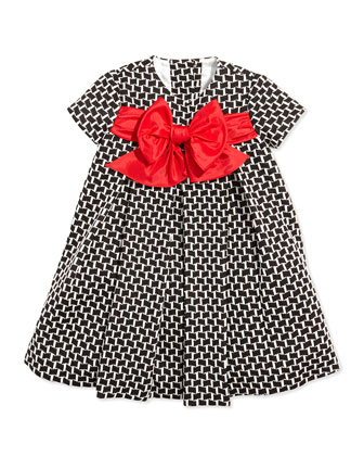 Girls' Printed Empire Dress with Bow