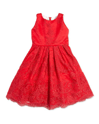 Lace and Satin Dress, Sizes 7-12