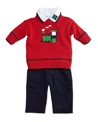 Train Sweater, Long-Sleeve Polo & Corduroy Pants Set, 12-24 Months