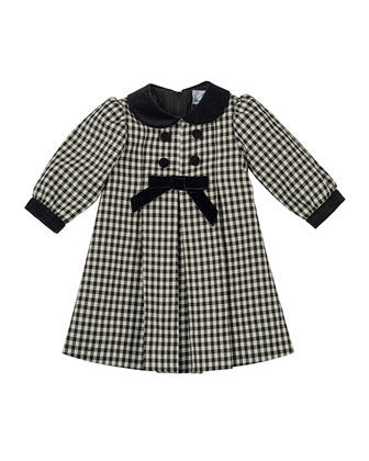 Pleated Check Dress with Velvet-Trim, 12-24 Months
